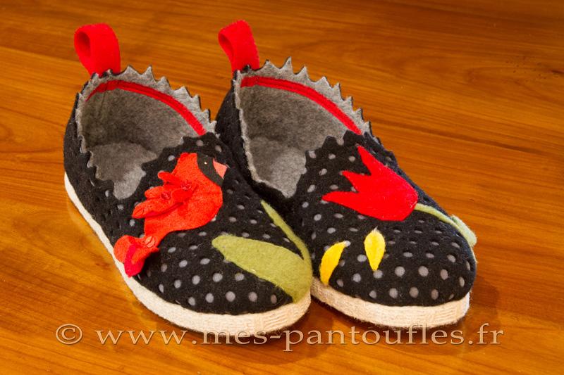 pantoufles grenadine fleuries pantoufles fantaisie design charentaises originales agr ment es de. Black Bedroom Furniture Sets. Home Design Ideas