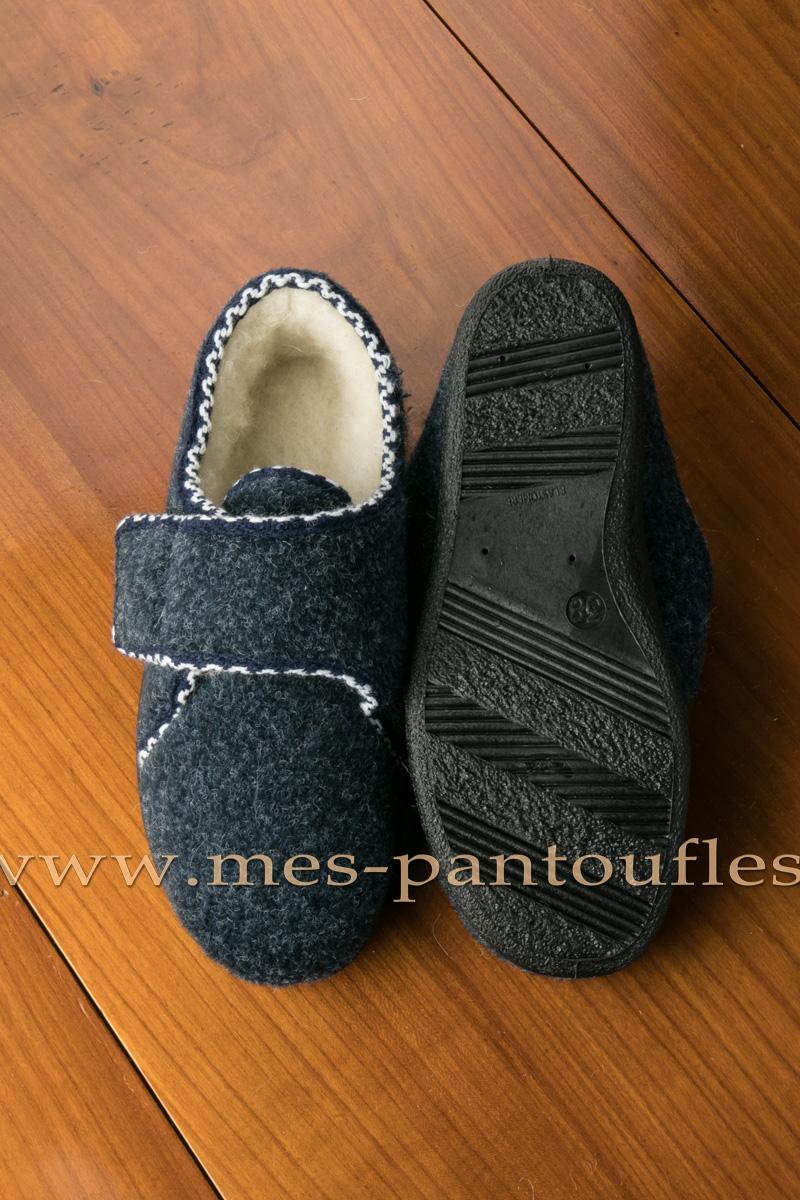 chaussons scratch femmes gris bleu chausson ouverture f. Black Bedroom Furniture Sets. Home Design Ideas